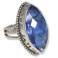"""Offerings Sajen 925 Ss Celestial """"Sapphire"""" Quartz Love Ring Size 7.5"""