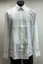 Fray Cotton White Tuxedo Shirt Men's 16 Made In Italy Mother Of Pearl Buttons