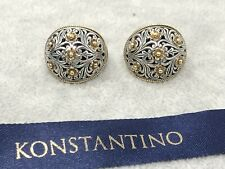 VIntage KONSTANTINO Sterling Silver 18K Gold Two Tone Filigree Clip On Earrings