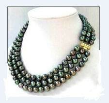 """triple strands 8-9mm natural south sea black pearl necklace 18"""" 14K gold clasp"""