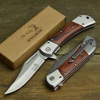 "Elk Ridge 8 3/8"" Assisted Open Wood Linerlock Gentleman Folding Hunting Knife"