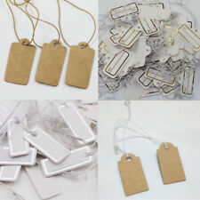 100Pcs Merchandise Label Price Tags Elastic Pre-Strung White Brown Kraft Paper
