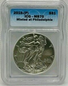 2016 (P) AMERICAN EAGLE $1 ICG MS70 MINTED AT PHILADELPHIA 1oz .999 Silver Coin