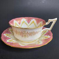 Antique Cauldon England Tea Cup & Saucer Pink w Yellow Roses Gilt Trim & Edges