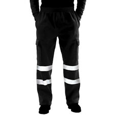 Mens Visibility Black Waterproof Full Zip Coat Trousers Set Safe Protective Work