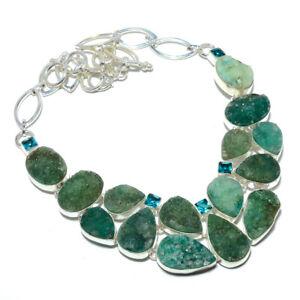 "Green Quartz Drusy & Blue Topaz 925 Sterling Silver Jewelry Necklace 17.99"" T852"