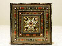 Wooden jewelery box handmade with mother-of-pearl,Hamburg,Damaskunst K 1-7-41