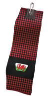 Asbri Wales Jacquard Trifold Golf Towel - CHECK RED/BLACK Society Gift Welsh