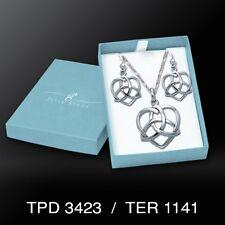 Trinity in Heart .925 Sterling Silver Box Set Earrings Pendant by Peter Stone