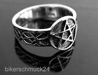Pentagramm Ring seitlich verziert Keltischer Knoten 925 Silber Gothic Geschenk