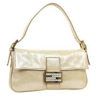 FENDI Baguette Stone Hand Bag 8BR600-DJM-129-2308 Metallic Beige Leather 41026