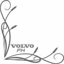 Volvo FH style truck cab window stickers (pair) fine bullrush scroll