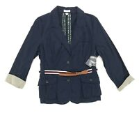 St. John's Bay Women's Size Jacket XL Navy Blue Button Front Belted Coat NWT