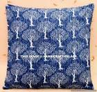 "16"" Floral Print Cushion Pillow Cover Handmade Indigo Blue Throw Indian Decor"