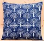 "16"" Floral Print Cushion Pillow Cover Handmade Indigo Blue Throw Indian Decor"