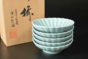 T7742: Japanese Arita-ware Celadon BOWL/dish/Cooking pot 5pcs, Fukagawa made