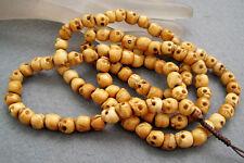 Tibet Buddhist Bone Skull 108 Prayer Beads Mala Necklace