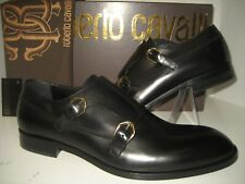 NEW $650 Reborto Cavalli Mens US 10 EU 43 Black Leather Loafers Dress Shoes Box