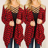 Womens Fashion Campus Plaid Check Shirt Long Sleeve Flannel Casual Blouse Tops*