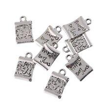 10pcs Square Words Beads Charms Tibetan Silver Pendant DIY Bracelet 12*18mm