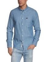 Lee New Men's Long Sleeve Cotton Shirt Regular Fit Blue Ice S M L XL XXL