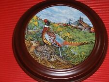 Vintage Framed Collector'S Plate Pheasant Knowles 1986