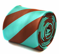Frederick Thomas chocolate brown & turquoise barber striped mens tie FT1911