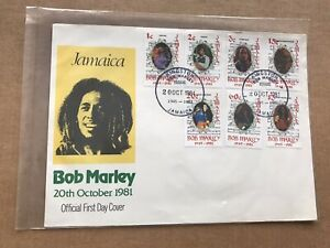 """Jamaica 1981 FDC +Bob Marley Complete Set of 7 + Song Writer=""""3-little Birds"""""""