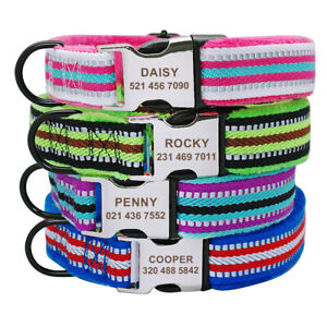 Reflective Dog Personalized Collar Pet Name ID Tag Engraved for Small Large Dogs