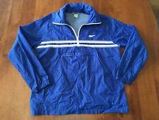 Vintage 1980's Asics Tiger Blue White Hooded Windbreaker Nylon Jacket Size Large