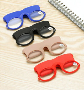 Soft Silicone Pince Nez Armless Nose Resting / Clip Reading Glasses + case ,Cord