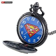 Black Gold Superman Necklace Vintage Pocket Watch Quartz Pendant Chain Gift New