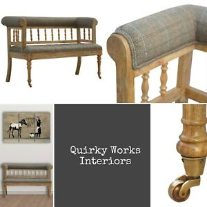Antique French Style Tweed Hall Bench Seat Turned Legs Casters Oak ish finish