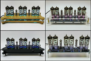 6x IV-11 / IV-12 VFD Desk Clock + Case + RGB + Remote + Power Retro NIXIE ERA!