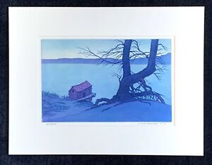 "F. Leslie Thompson signed etching ""Solitude"" ~ Chicago ~ Lake Michigan"