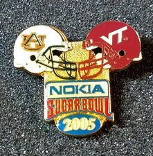 VINTAGE NCAA PIN - 2005 Nokia Sugar Bowl Auburn vs. Virginia Tech dual helmets
