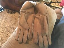 LNWOT Anonymous Made in Italy Brown Leather Fur Lined Winter Gloves 6 1/2