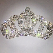 "TOPPA PATCH STRASS CRISTALLO ""CORONA CROWN"" TERMOADESIVA TRASPARENTE Applique"