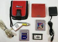 Nintendo Game Boy Advance SP Red Handheld System Intec Car Charger Case 3 Games