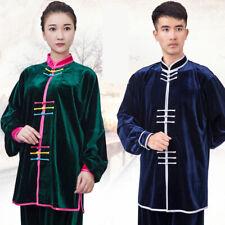 Men Womens Velvet Martial Arts Uniform Kung Fu Tai Chi Winter Warm Suits Fei34