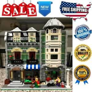 City Building Blocks Sets Creator 15008 Green Grocer Store Street Model Kids Toy