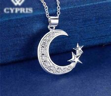 "925 Sterling Silver Cubic CZ Crescent Moon And Star Pendant Necklace 18"" N16"