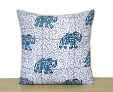 "Indian Hand Block Elephant Print 16"" Cushion Cover Home Decor Pillow Case Covers"