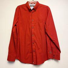 Ben Sherman Mens Large Long Sleeve Button-Down Orange Check Shirt