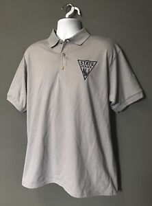 NJSP New Jersey State Police Golf Polo Biz Casual GRAY w BLUE EMBROIDERED Logo