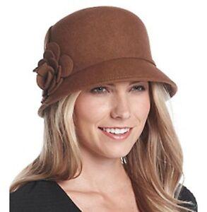 Nine West Brown Felt 100% Wool Rosette Wool Cloche Hat Flower Detail BNWT