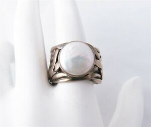 """Silpada Sterling Silver ~12MM Pearl 5/8"""" Wide Ring R1542 Size 6"""