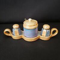 Vintage Trico Lusterware Japan Salt & Pepper Mustard Jar Tray Set Hand Painted