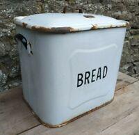 Vintage c1950's Large Metal White Enamel Bread Bin with Black Highlights