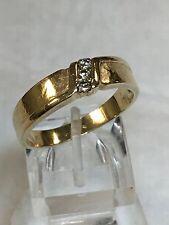 .06 CTW 14K Yellow Gold Men's Wedding Band 3 Stones Diamond Ring Sz 9.25 - 9.5